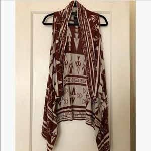 Forever 21 Copper/Rust & Cream Boho Tribal Vest M